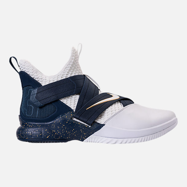 Right view of Men's Nike LeBron Soldier 12 SFG Basketball Shoes in White/Midnight Navy/Mineral Yellow