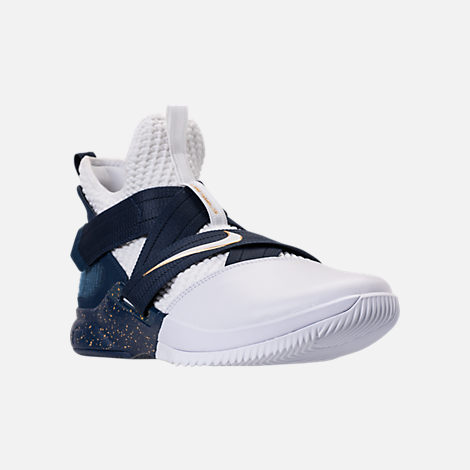 Three Quarter view of Men's Nike LeBron Soldier 12 SFG Basketball Shoes in White/Midnight Navy/Mineral Yellow
