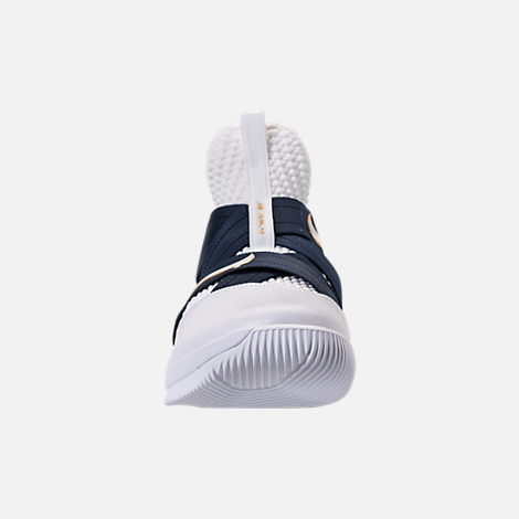 Front view of Men's Nike LeBron Soldier 12 SFG Basketball Shoes in White/Midnight Navy/Mineral Yellow