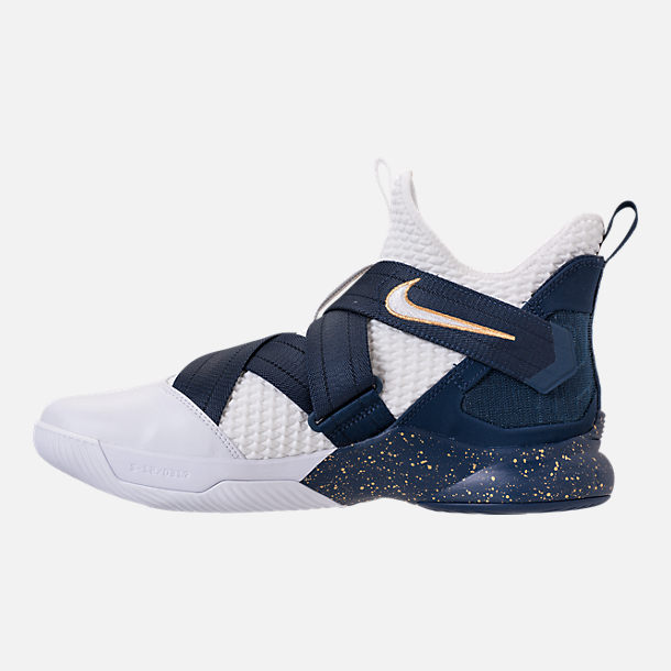 Left view of Men's Nike LeBron Soldier 12 SFG Basketball Shoes in White/Midnight Navy/Mineral Yellow