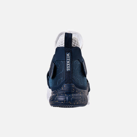 Back view of Men's Nike LeBron Soldier 12 SFG Basketball Shoes in White/Midnight Navy/Mineral Yellow