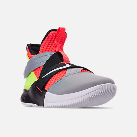 Three Quarter view of Men s Nike LeBron Soldier 12 SFG Basketball Shoes in  Hot Lava  062087b04