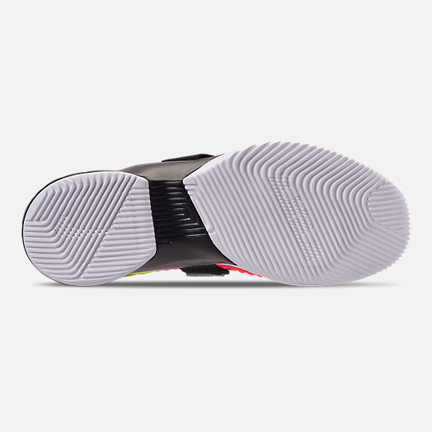 0c1bd95ddffed Bottom view of Men s Nike LeBron Soldier 12 SFG Basketball Shoes in Hot  Lava White