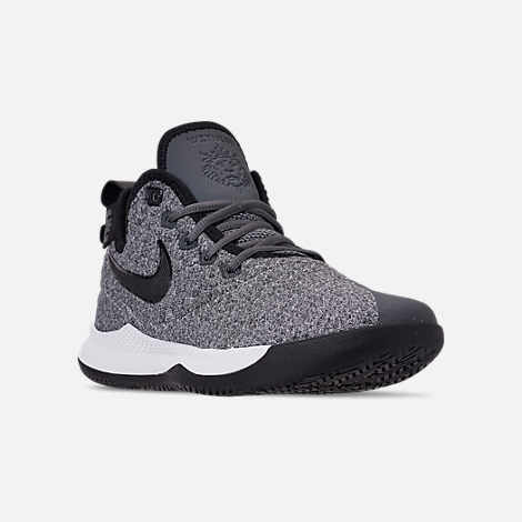Three Quarter view of Men's Nike LeBron Witness 3 Basketball Shoes in Dark Grey/Black/White