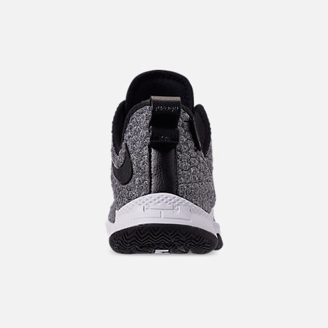 Back view of Men's Nike LeBron Witness 3 Basketball Shoes in Dark Grey/Black/White
