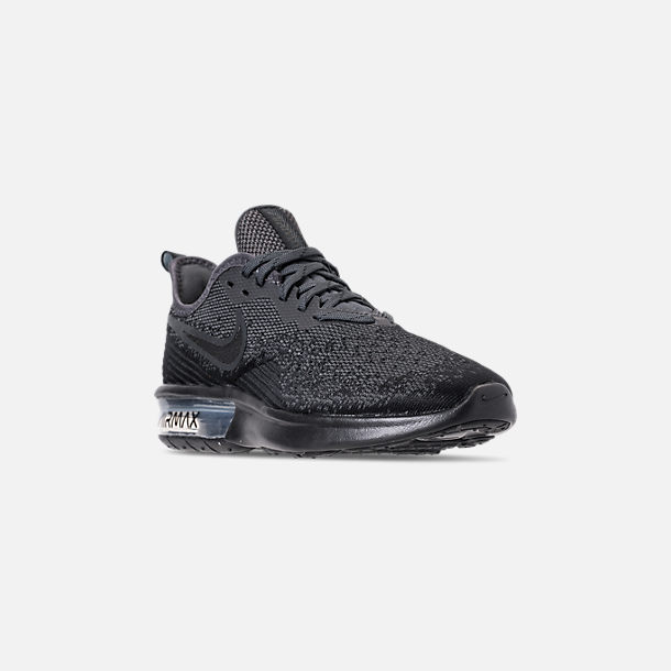 Three Quarter view of Women's Nike Air Max Sequent 4 Casual Shoes in Black/Anthracite