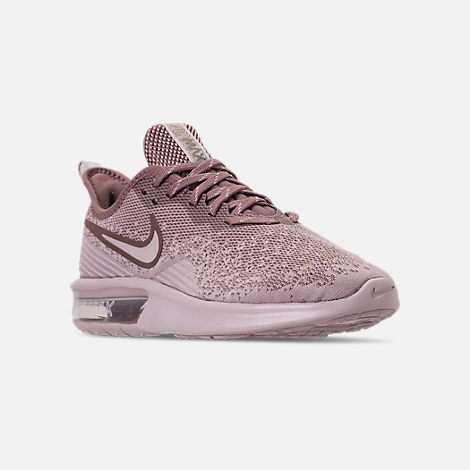 Three Quarter view of Women's Nike Air Max Sequent 4 Casual Shoes in Particle Rose/Particle Rose/Smokey Mauve