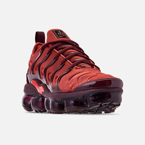 Three Quarter view of Women s Nike Air VaporMax Plus Casual Shoes in Burnt  Orange Habanero c8b6ec6af