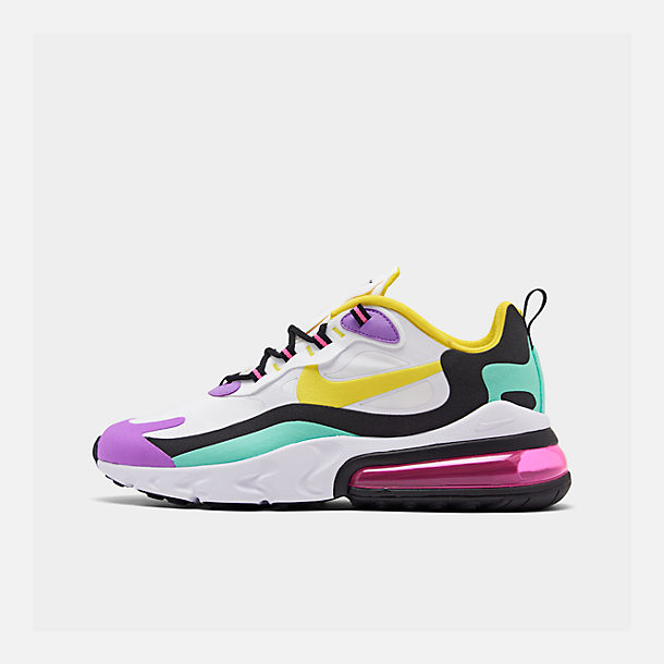 Right view of Men's Nike Air Max 270 React Casual Shoes in White/Dynamic Yellow/Black