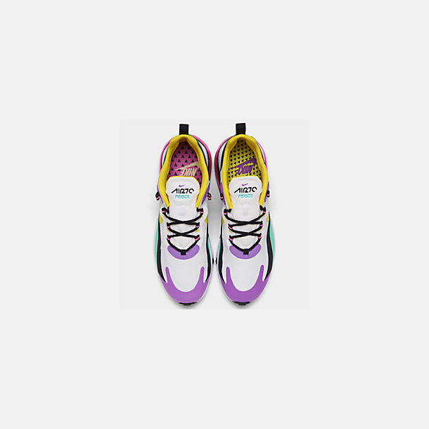 Back view of Men's Nike Air Max 270 React Casual Shoes in White/Dynamic Yellow/Black
