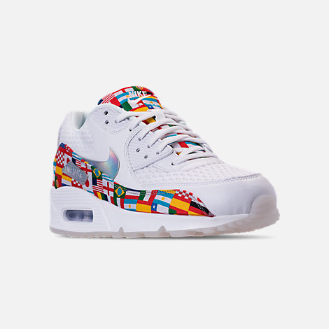 Three Quarter view of Men's Nike Air Max 90 NIC QS Casual Shoes in White/Multicolor