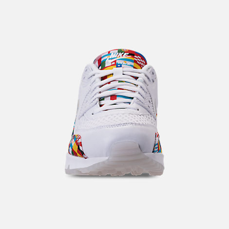 Front view of Men's Nike Air Max 90 NIC QS Casual Shoes in White/Multicolor