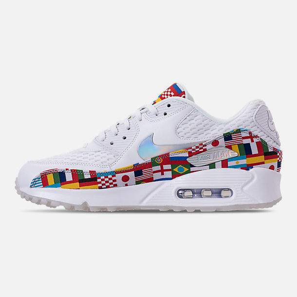 Left view of Men's Nike Air Max 90 NIC QS Casual Shoes in White/Multicolor