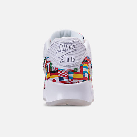 Back view of Men's Nike Air Max 90 NIC QS Casual Shoes in White/Multicolor