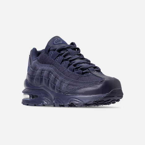 Three Quarter view of Boys' Big Kids' Nike Air Max 95 AMD Casual Shoes in Midnight Navy/Midnight Navy/Thunder