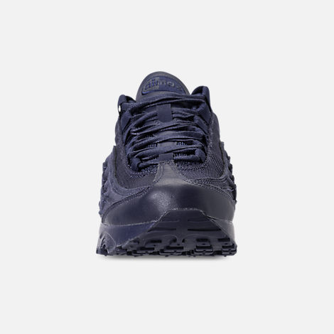 Front view of Boys' Grade School Nike Air Max 95 AMD Casual Shoes in Midnight Navy/Midnight Navy/Thunder