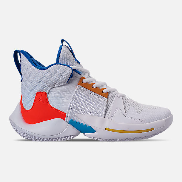 Right view of Boys' Big Kids' Air Jordan Why Not Zer0.2 Basketball Shoes in White/Total Crimson/Tidal Blue