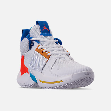 Three Quarter view of Boys' Big Kids' Air Jordan Why Not Zer0.2 Basketball Shoes in White/Total Crimson/Tidal Blue