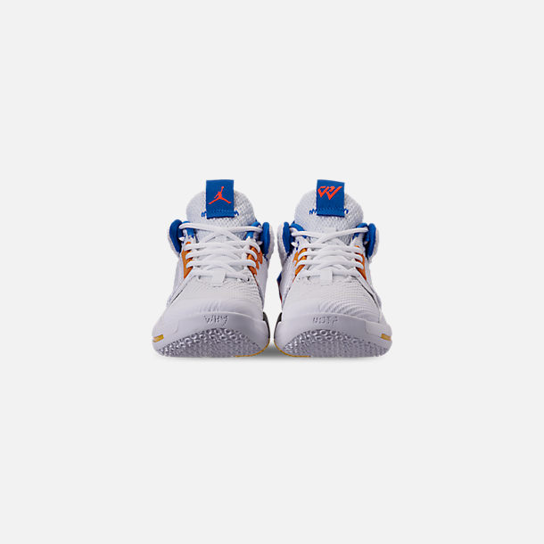 Front view of Boys' Big Kids' Air Jordan Why Not Zer0.2 Basketball Shoes in White/Total Crimson/Tidal Blue