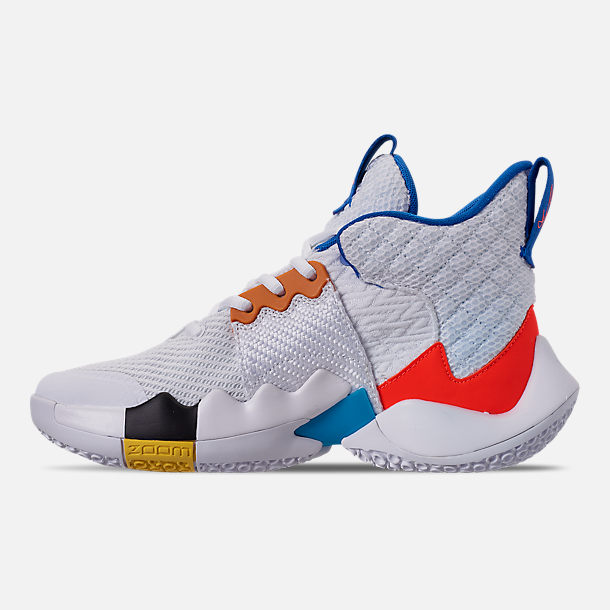 Left view of Boys' Big Kids' Air Jordan Why Not Zer0.2 Basketball Shoes in White/Total Crimson/Tidal Blue