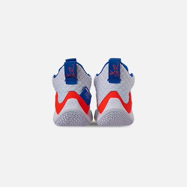 Back view of Boys' Big Kids' Air Jordan Why Not Zer0.2 Basketball Shoes in White/Total Crimson/Tidal Blue