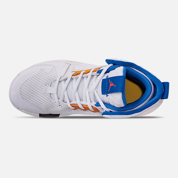 Top view of Boys' Big Kids' Air Jordan Why Not Zer0.2 Basketball Shoes in White/Total Crimson/Tidal Blue