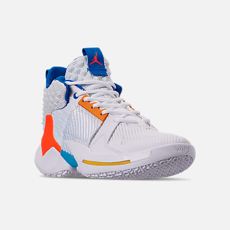 Three Quarter view of Men's Air Jordan Why Not Zer0.2 Basketball Shoes in White/Total Crimson/Tidal Blue