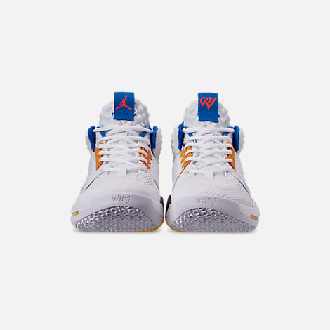 Front view of Men's Air Jordan Why Not Zer0.2 Basketball Shoes in White/Total Crimson/Tidal Blue