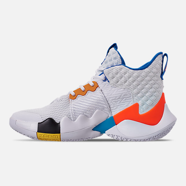Left view of Men's Air Jordan Why Not Zer0.2 Basketball Shoes in White/Total Crimson/Tidal Blue