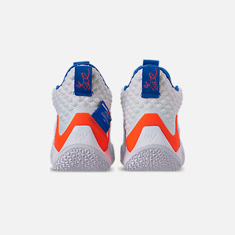 Back view of Men's Air Jordan Why Not Zer0.2 Basketball Shoes in White/Total Crimson/Tidal Blue