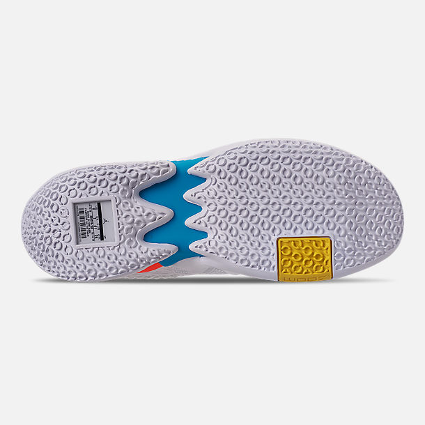 Bottom view of Men's Air Jordan Why Not Zer0.2 Basketball Shoes in White/Total Crimson/Tidal Blue