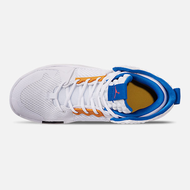 Top view of Men's Air Jordan Why Not Zer0.2 Basketball Shoes in White/Total Crimson/Tidal Blue