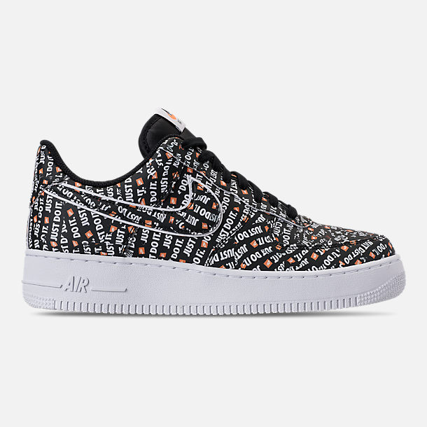 Right view of Men's Nike Air Force 1 '07 LV8 JDI Casual Shoes in Black/White/Total Orange
