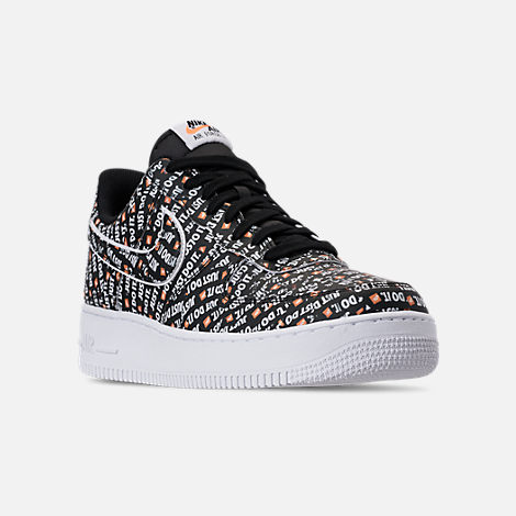 Three Quarter view of Men's Nike Air Force 1 '07 LV8 JDI Casual Shoes in Black/White/Total Orange