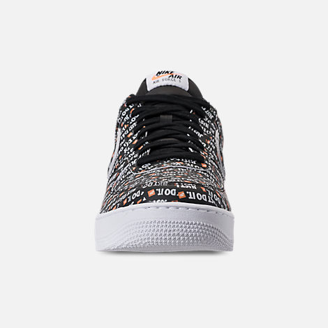 Front view of Men's Nike Air Force 1 '07 LV8 JDI Casual Shoes in Black/White/Total Orange
