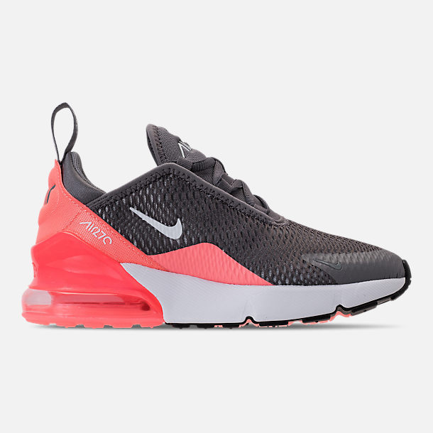 Right view of Girls' Preschool Nike Air Max 270 Casual Shoes in Gunsmoke/White/Atomic Pink