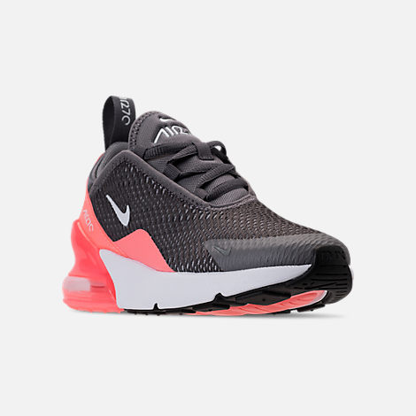 Three Quarter view of Girls' Preschool Nike Air Max 270 Casual Shoes in Gunsmoke/White/Atomic Pink