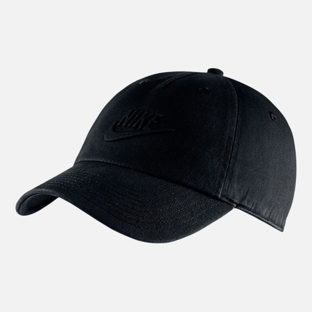 Front view of Unisex Nike Sportswear Heritage86 Overdye Adjustable Hat in Black