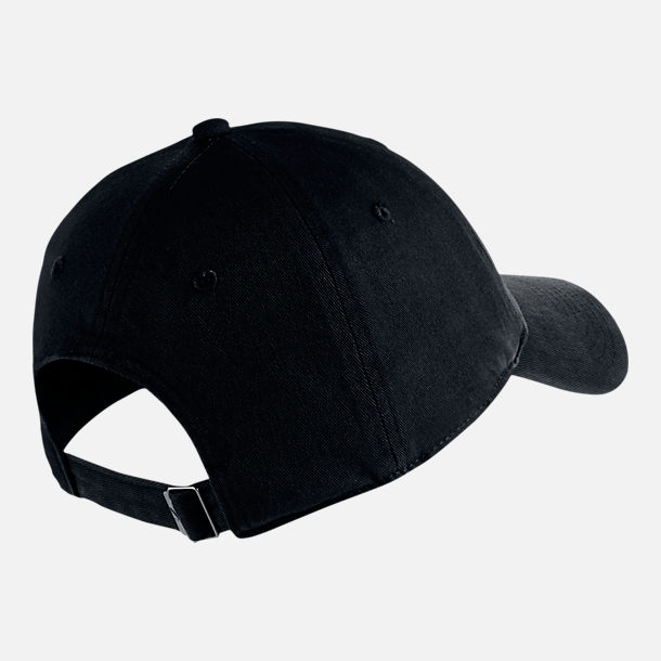 Back view of Unisex Nike Sportswear Heritage86 Overdye Adjustable Hat in Black
