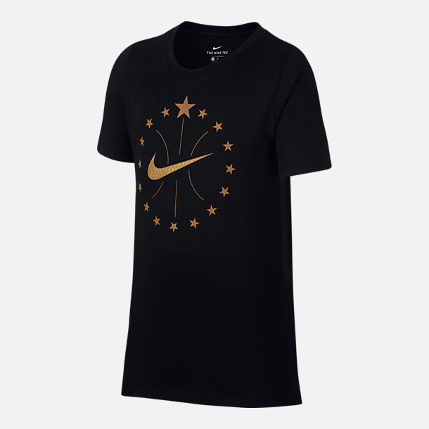Front view of Boys' Nike Dry Stars T-Shirt in Black/Gold
