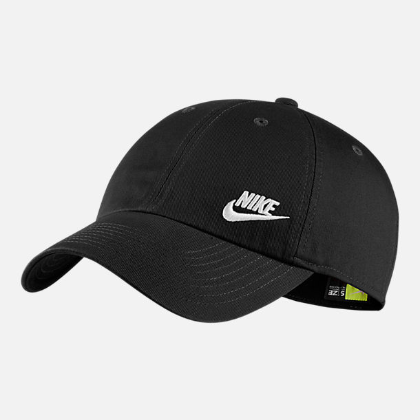 Front view of Nike Sportswear Heritage86 Adjustable Back Hat in Black White 6f87f8c99e0