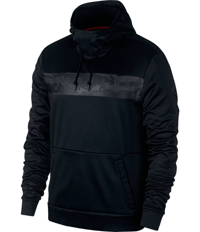 Front view of Men's Jordan Therma 23 Alpha Printed Training Pullover Hoodie in Black