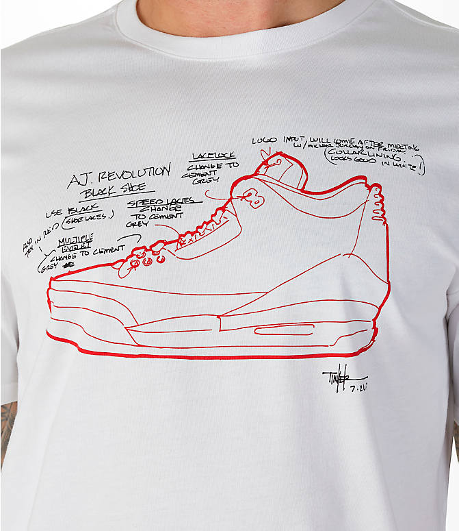 Detail 1 view of Men's Jordan Sportswear AJ3 Tinker T-Shirt in White
