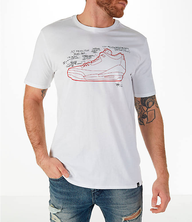 Front view of Men's Jordan Sportswear AJ3 Tinker T-Shirt in White