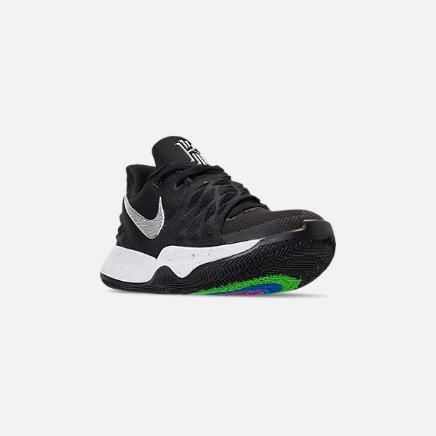 f9e091e54d0b Three Quarter view of Men s Nike Kyrie Low Basketball Shoes in Black Metallic  Silver