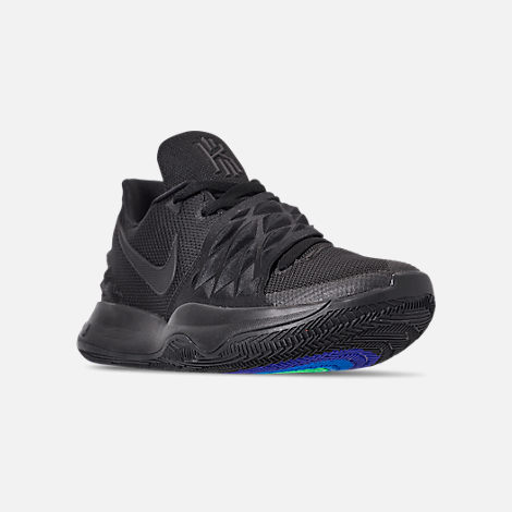 Three Quarter view of Men's Nike Kyrie Low Basketball Shoes in Black/Anthracite