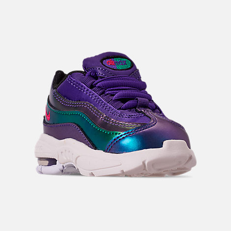 66a11a56d17 Three Quarter view of Girls  Toddler Nike Air Max 95 SE Casual Shoes in  Court