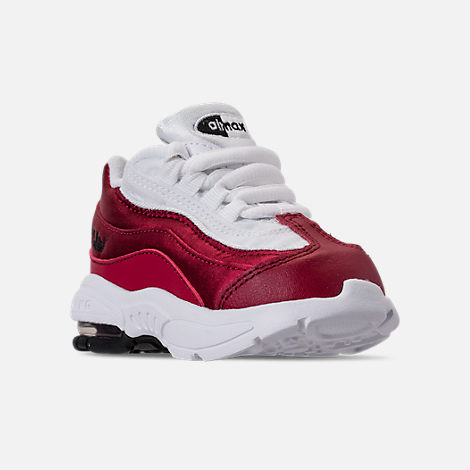 Three Quarter view of Girls' Toddler Nike Air Max 95 SE Casual Shoes in Red Crush/Red Crush/White/Black