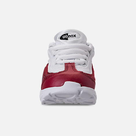 Front view of Girls' Toddler Nike Air Max 95 SE Casual Shoes in Red Crush/Red Crush/White/Black