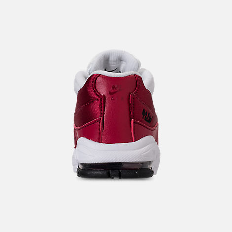 Back view of Girls' Toddler Nike Air Max 95 SE Casual Shoes in Red Crush/Red Crush/White/Black